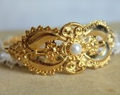 Bracelet Gold plated bracelet Classic  - 22k real gold plated bracelet with real swarovski pearl