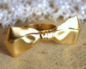 Gold  bow adjustable ring plated 14k gold