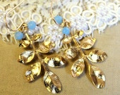 Gold leaf earrings with aquamarine  gems shabby chic style -18k gold plated