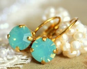 Mint shiny Crystal  gold earrings - 14k gold plated earrings with real mint faceted  swarovski rhinestone