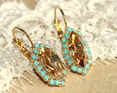 Crystal champagne turquoise earring - 14k plated gold earrings real swarovski rhinestones .