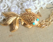 Gold fish necklace - 14 k gold coated on real 972 silver  vintage style necklace with a fish pendant