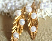 Gold leaf  feather earrings ,bridal jewelry , wedding jewelry , shabby chic style -18k deep gold  with real pearls