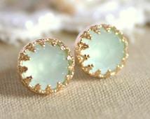 Mint Earrings,Mint Opal Studs,Mint Stud Earrings,Sea foam Earrings,Mint Studs,Mint Green Studs,Bridesmaids Gift,Opal Studs,Mint Jewelry