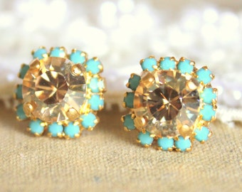 Champagne stud earrings,Champagne Turquoise Stud earrings,Topaz Mint Stud earrings, Swarovski Bridal earrings,Bridesmaids gift,Free shipping