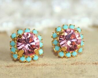 Gift for her,Pink Earrings,Pink Turquoise Earrings,Swarovski Earrings,Crystal Pink Studs,Christmas gift,Swarovski Earrings,Pink Mint Studs