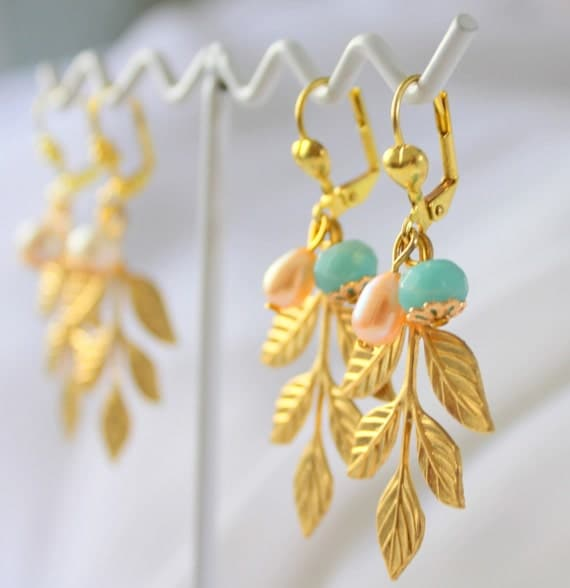 Gold leaf earrings with pearls and gems shabby chic style