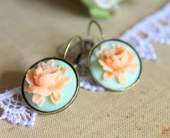 Aqua peach rose  Earrings vintage shabby chic Victorian style Elegant shabby chic rose  - vintage gorgeous rose earrings