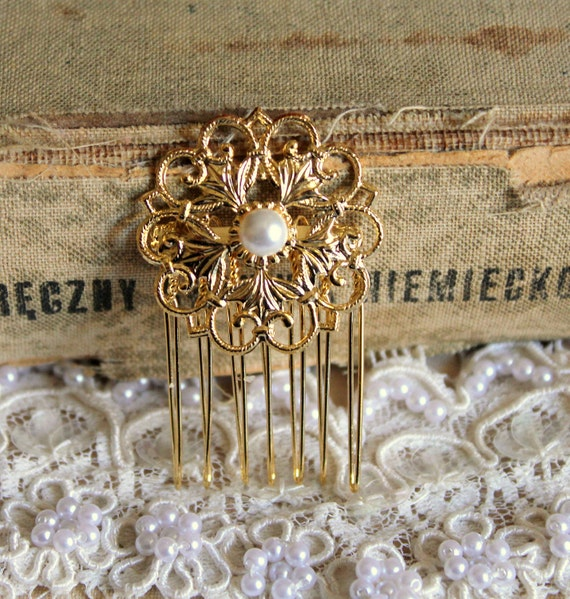 Petite Bridal hair comb  Victorian shabby chic vintage style with Swarovski elegant pearls .