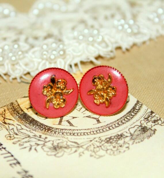 Coral velvet earring - Victorian shabby chic vintage style .