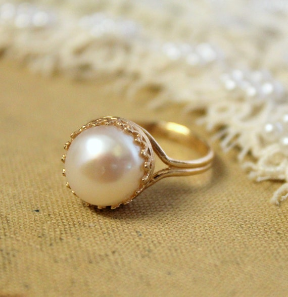 Audreys crowen -  stunning elegant 14K GF ring with real  pearl