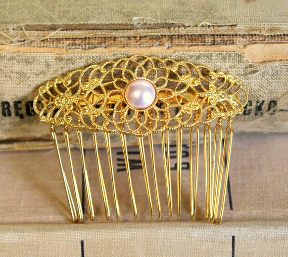 Gold lace and pearls hair comb- Bridal hair comb  Victorian shabby chic vintage style with Swarovski elegant pearl.