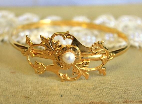 Bracelet Gold plated bracelet Classic  - 22k real gold plated bracelet with real swarovski pearl