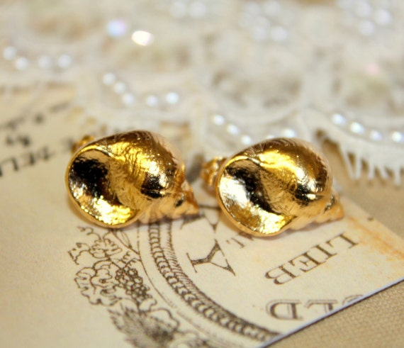 Gold sea shell post earrings plated 18k Gold , shabby chic vintage style