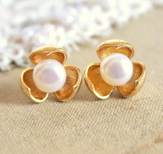 Gold post earrings  - 14k goldfield flower earrings with real white pearls .