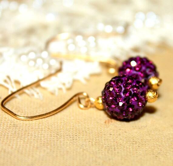 Purple berry crystal rhinestone earrings-real goldfield wire