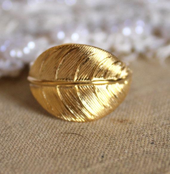 Gold leaf adjustable ring plated 14k gold