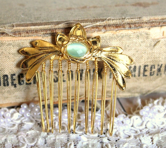 Bridal haircomb - Gold and mint faceted rhinestone  hair comb Victorian shabby chic vintage style with Swarovski rhinestone