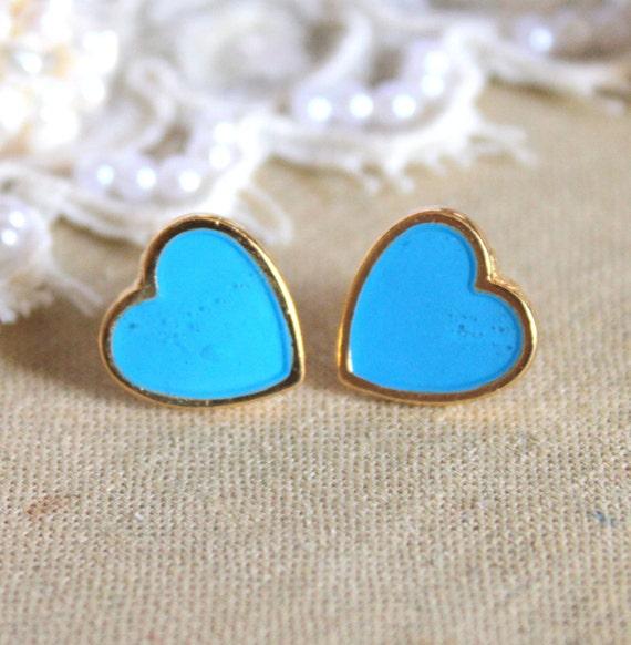 Blue sky  Heart gold stud  earring -petit elegant 14k gold coated post earrings