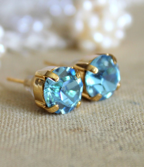 Blue and gold earrings - 14k gold plated earrings with real blue  faceted  swarovski rhinestone