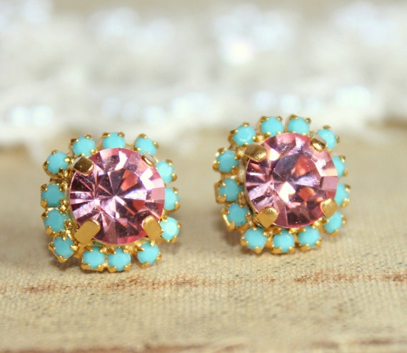 Gift for her,Pink Earrings,Pink Turquoise Earrings,Swarovski Earrings,Crystal Pink Studs,Christmas gift,Swarovski Earrings,Pink Mint Studs