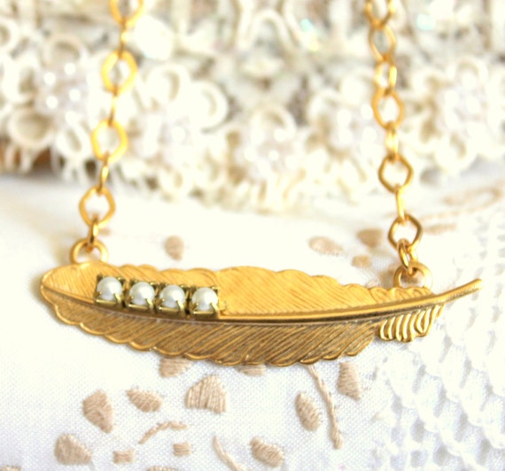 Feathers and Pearls -shabby chic victorian syle necklace14k gold plated gold and pearls .