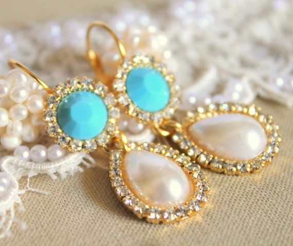 Crystal chandelier Turquoise and pearls - 14k plated gold  earrings real swarovski rhinestones .