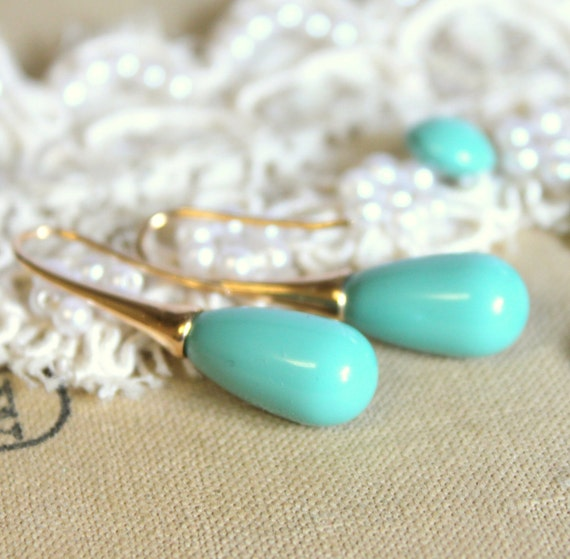 Tiffany Turquoise color  Pearls and gold earrings - real GF14K earrings with Majorica perfect Turquoise pearls