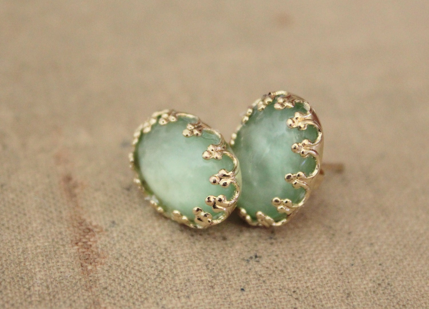 Earrings post stud shabby chis vintage style gold by iloniti