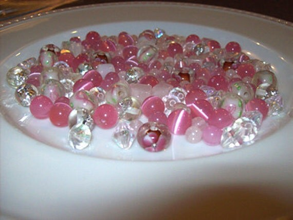 Pink, Silver and Clear Mixed Bulk Beads with Foiled Glass and Cancer Awareness BH136