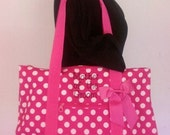 Large Tote - Pink with White Polka Dot