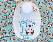 Look Whoos 1 Owl Birthday Bib with Name