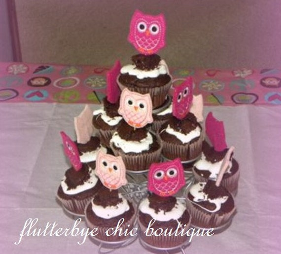 Felt Owl Cupcake Toppers