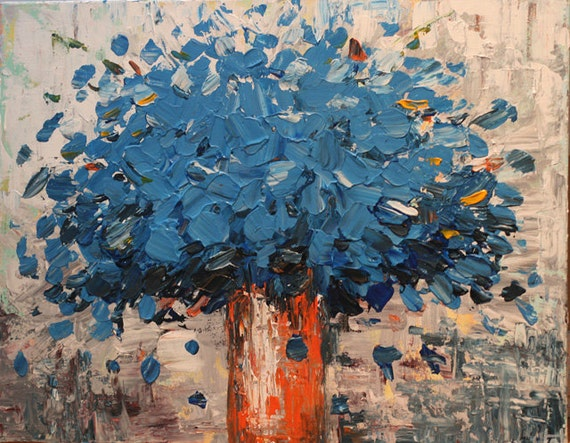 Large blue flower  Painting Wall deco Modern art contemporary palette knife art painting by oak