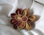 Mauve and Gold Flower. Copper Accents. Alligator Back.