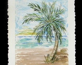 Original Palm Tree Beach Mixed Media Painting