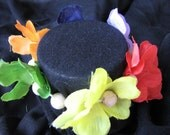 Rainbow flower scrunchie