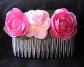 haircomb with 3 pink roses