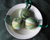 Felted ornament shades of green set of 3