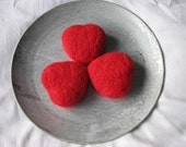 Felted hearts fire red set of 3