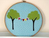 Tree and Bunting Applique Hoop