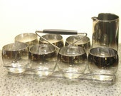 RESERVED set of 7 roly poly silver ombre glass w/ pitcher RESERVED