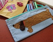 CUSTOM LISTING for DONNA: Sausage dog & Butterfly pencil cases