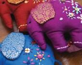 embroidered elephant key-ring