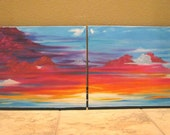 SALE -Original Colorful Sunset Clouds Sky Landscape Diptych Painting Modern Abstract Art 40x16 - Heaven's Sunset
