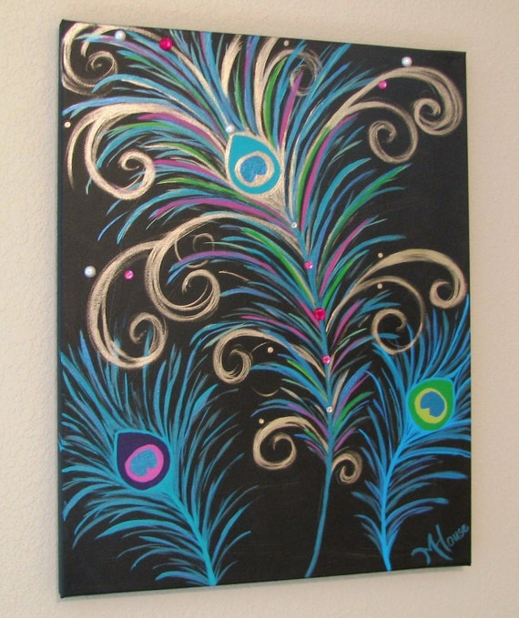 Pretty as a peacock shimmering original metallic modern for Painting feathers on canvas