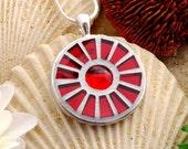 Ruby Red Pinwheel -- Mirrored Glass Mosaic Pendant (Item 10227-P)