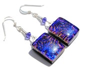 Firework Bursts Earrings, Dichroic Glass, Fused Glass Jewelry, Swarovski Crystal, Dangle, Indigo Blue, Purple, Rich Colors (Item 30137-E)