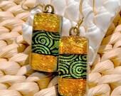 Sunset Swirls - Dichroic Glass Earrings, Fused Glass Jewelry, Dangle, Autumn, Fall, Orange, Gold (Item 30132-E)