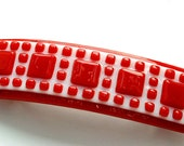 French Barrette, Mosaic, Fused Glass Hair Accessory, Red and White, Squares, Large for Thicker Hair, Fun, Unique Gift (item 50045-A)